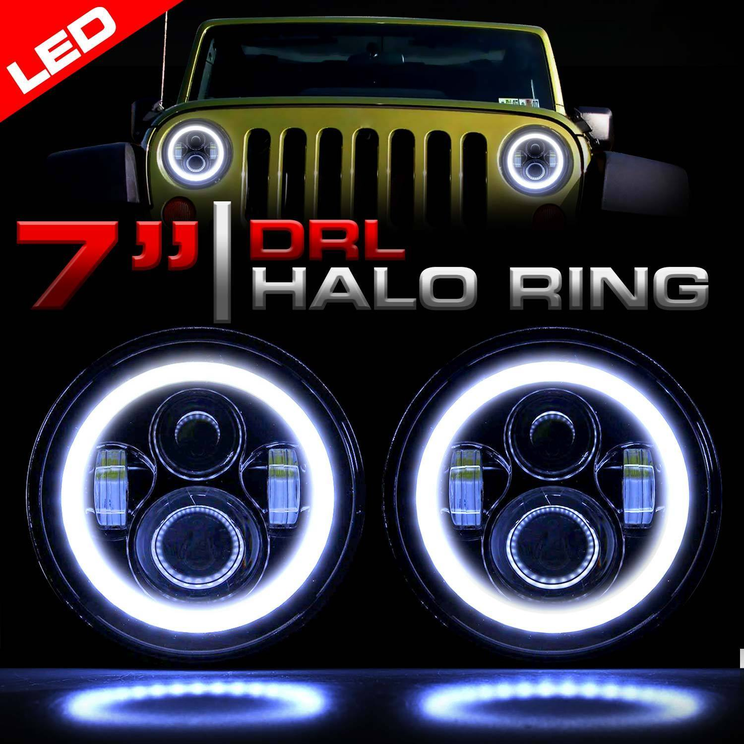 Led Headlight Black Vader Set With Halo Rings For Jeep