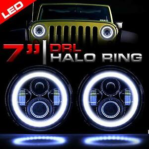 led headlight black vader set with halo rings for jeep wrangler jk