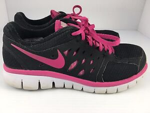 ea68b9578365 Nike Flex 2013 Run Youth Girls Running Shoes Black + Pink size 5.5 ...