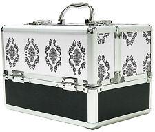 Large White Aluminium Beauty Damask Cosmetic Box Nail Make Up Vanity Salon Case