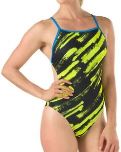 Speedo Womens Swimwear Black Yellow 10 /36 Endurance One Turnz Swimsuit $69 554