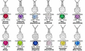 Baby Boy Pendant With Birthstones Charm Necklace In Sterling Silver