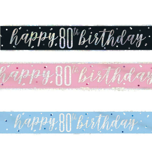 Foil Banner Birthday Party Banners 9ft Glitz 13th-100th in Pink Blue Black Ages
