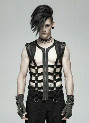 Punk Rave WT-564 Men/'s post-apocalyptic goth hooded top vegan leather details