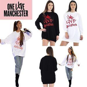 NUOVO Donna Stampato da VIP CONCERTO Baggy One Love Manchester Felpa dress Top