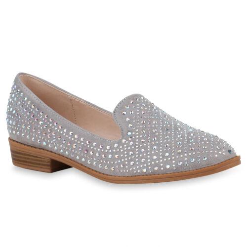 Damen Slippers Loafers Stylische Freizeit Schuhe Slip Ons 820531 Trendy Neu