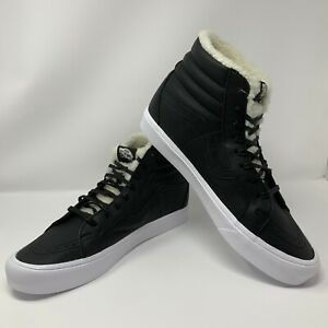 609a240a4b Vans Sk8-Hi Reissue Lined Sherpa Black White Men s 13 Skate Shoes ...