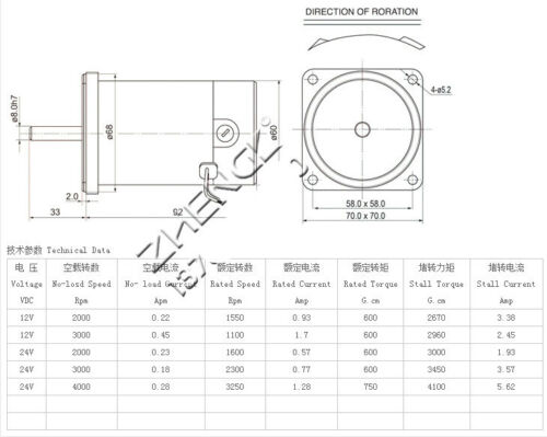 DC ZYTD-60SRZ-7F1 12V 24V 60mm DIA Micro Adjustable Speed Motor Reversing Flange