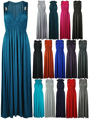 NEW LADIES LONG STRETCH WOMENS MAXI DRESS SIZE 8 - 16