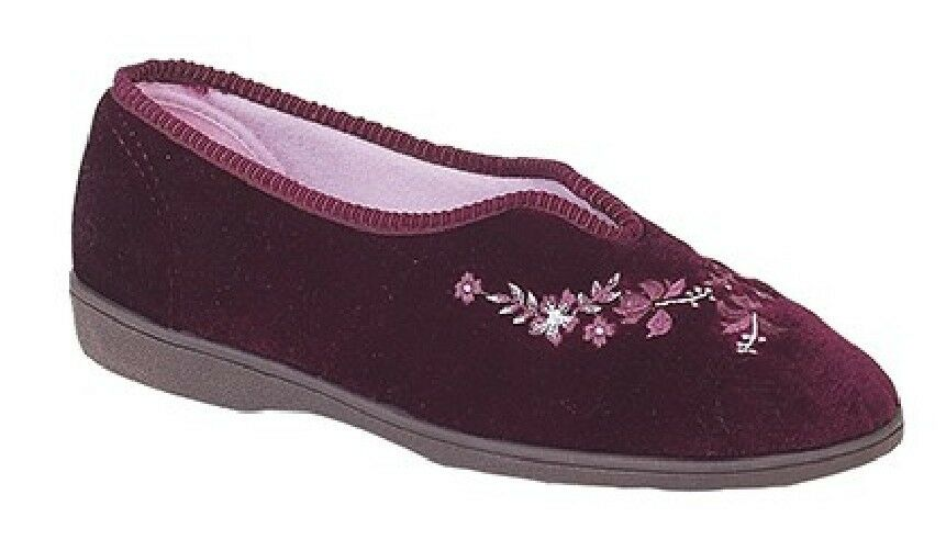 Sleepers Zapatillas Dolley V Garganta Bordado Zapatillas Sleepers Vino Terciopelo d79680