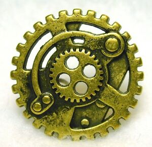Steampunk-Button-Machine-Mechanism-Antq-Brass-Pierced-FREE-SHIPPING
