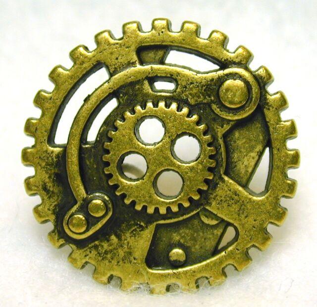 Steampunk Button Machine Mechanism Antq Brass Pierced FREE SHIPPING