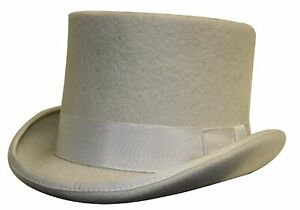 100% Wool Satin Lined Wedding Ascot Event Off White Felt Top Hat ... 18d9d7cc0217