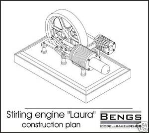 Stirling engine laura construction plans modelling ebay for Stirling engine plans design blueprints