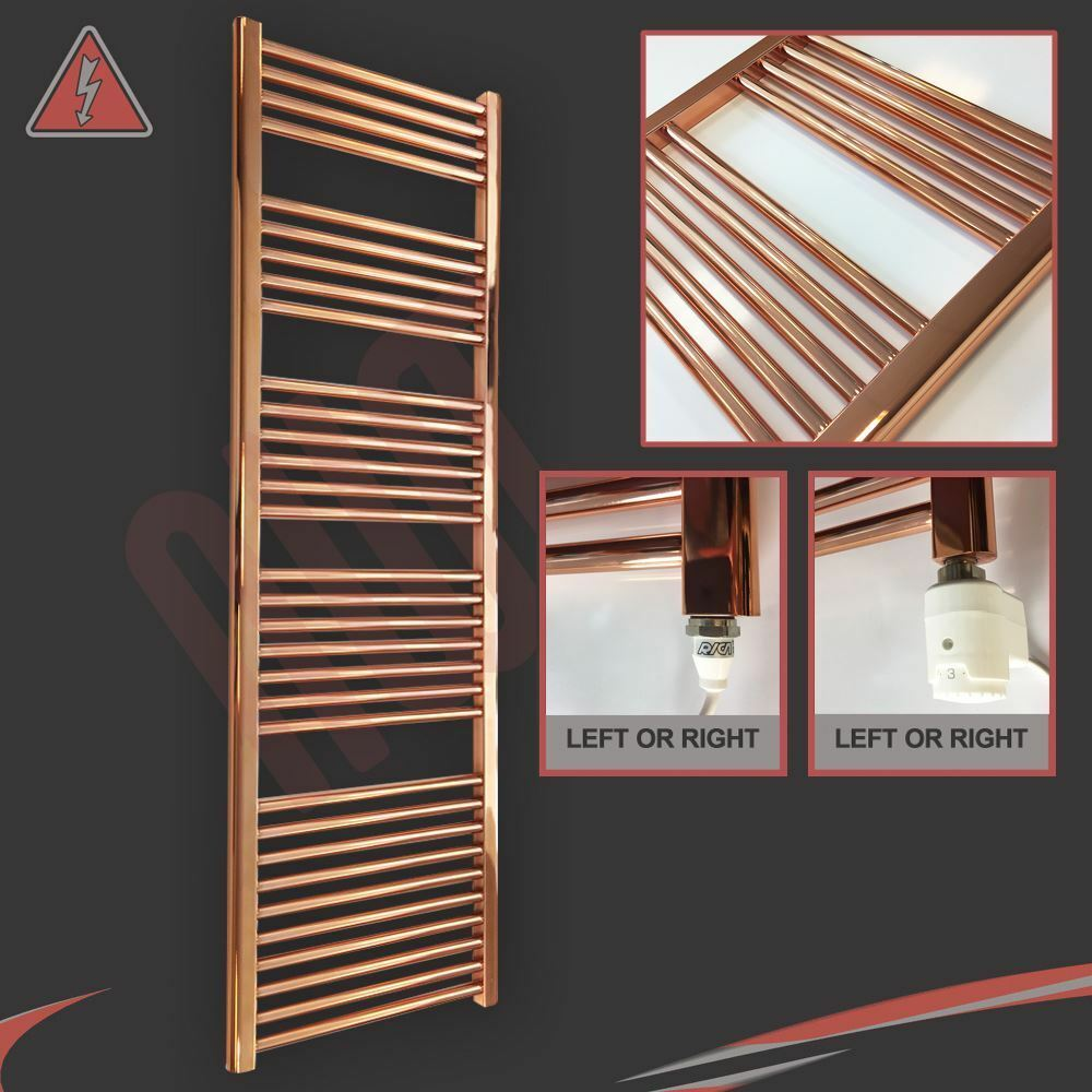 500mm(w) x 1600mm(h) Pre-Filled Electric Straight Copper Towel Rail - 600W