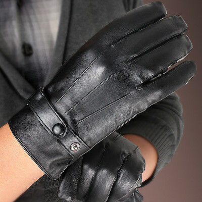 a1e2ac5e1deca Men's Touch Screen 3-lines Winter Warm Genuine Leather Gloves Fleece Lined  Black
