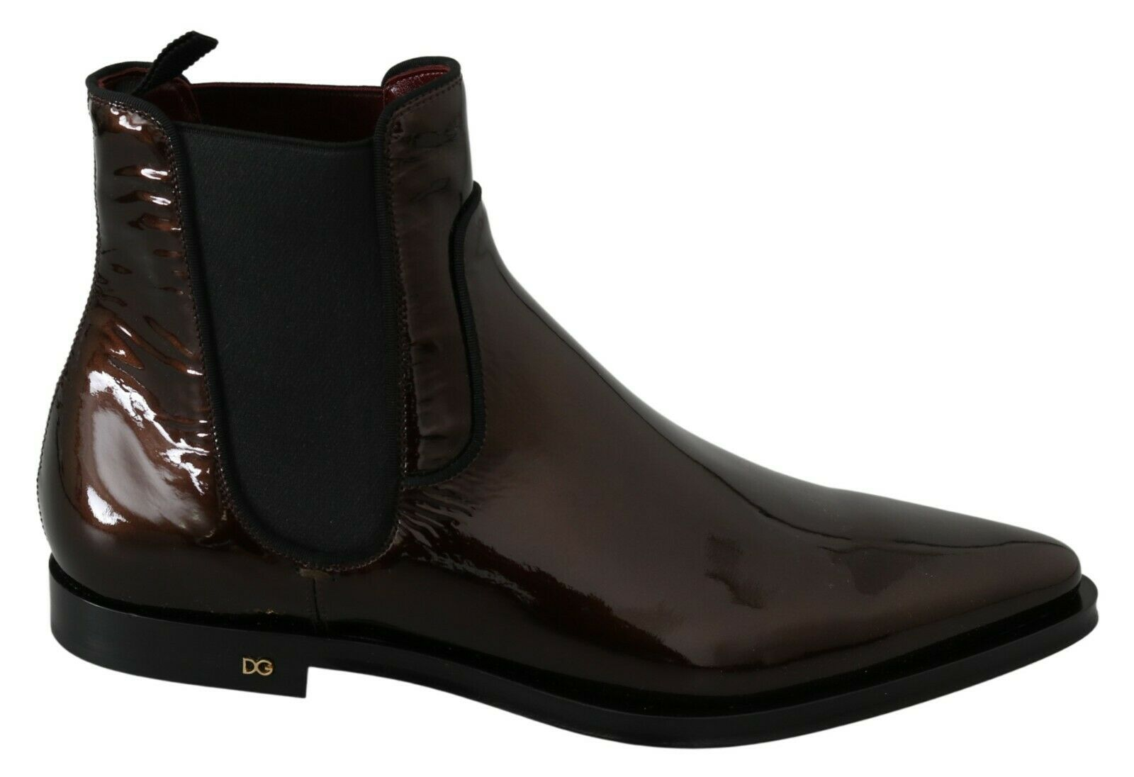 DOLCE & GABBANA Shoes Brown Patent Leather Boots Stretch EU44 / US11