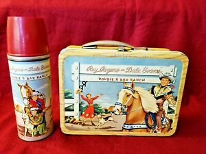 Vintage Roy Rogers & Dale Evans Double R Bar Ranch Metal Lunch Box and Thermos