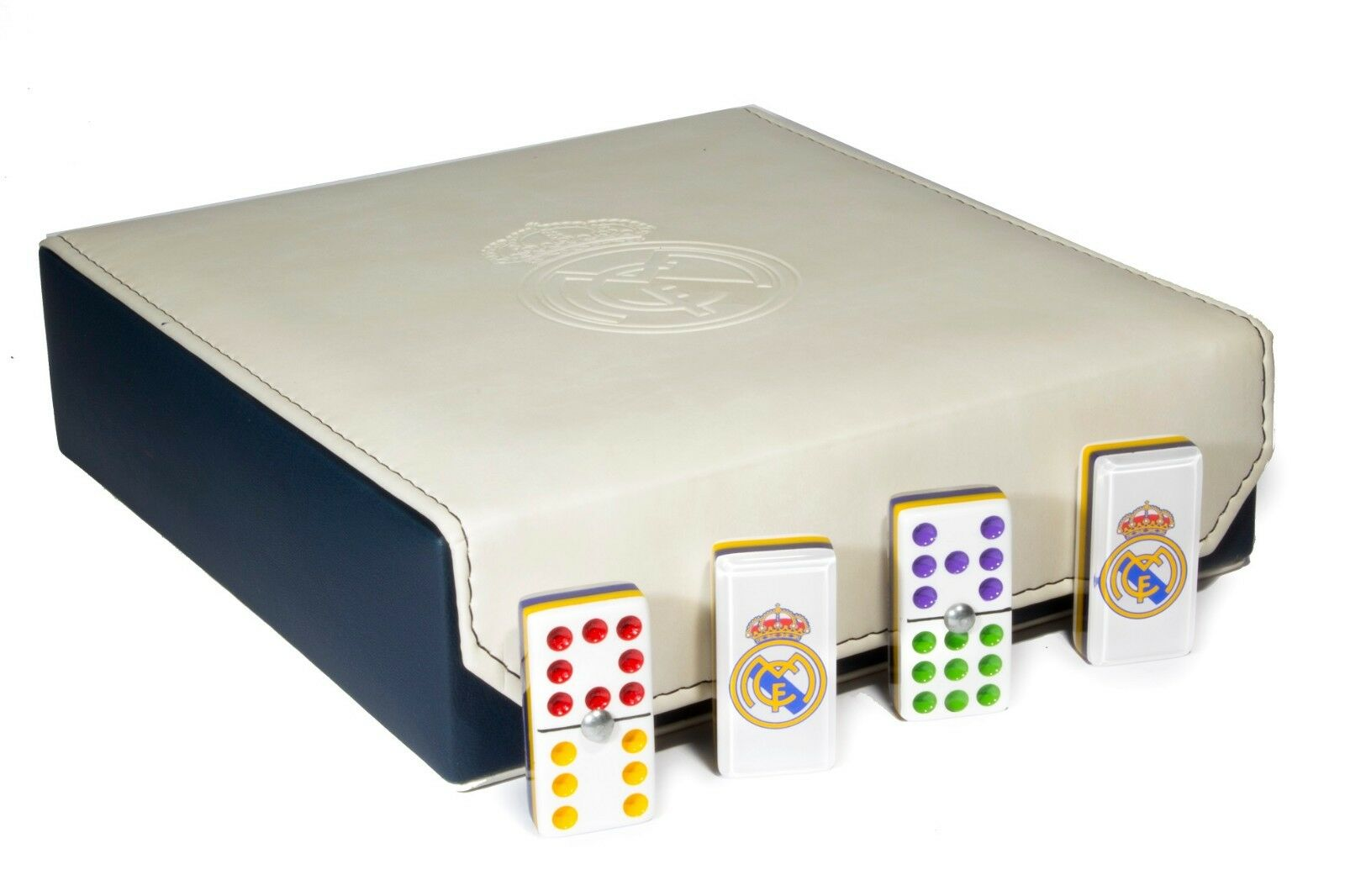 Real Madrid Double 9 Domino  55 Tiles, 100% Acrylic. Engraved Case