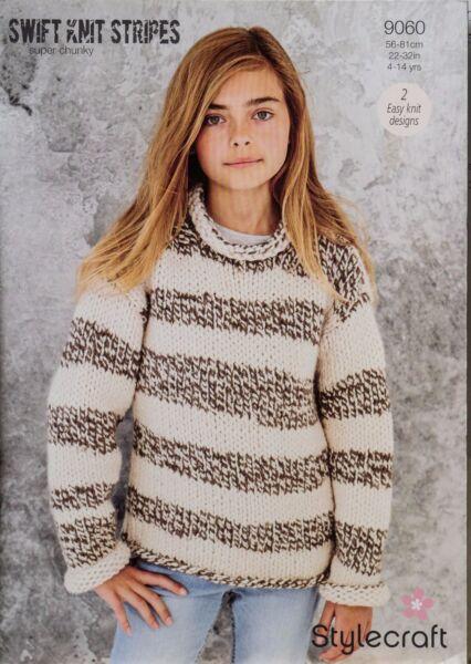 3054c1c21 Stylecraft Knitting Pattern 9060 Girls Swift Stripes Sweater 2 Easy Knit  Designs