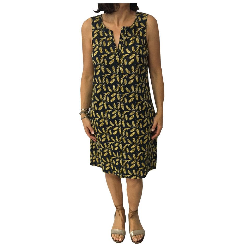NICE THINGS abito donna nero giallo 55% lino 45% cotone