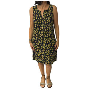 Nice Things Woman 55 45 lin jaune Robe noire coton fZa1dnqww