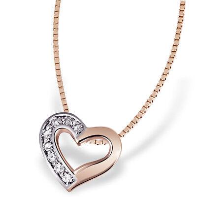 Goldmaid Anhänger mit Kette Herz 375 Rotgold 8 Diamanten SI/H 0,07 ct.