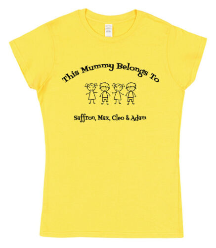 Personalised This Mummy Belongs To T-Shirt With Kids Dog Cat Names Mother/'s Day