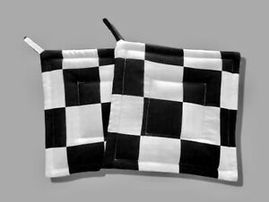 Black White Checkered Flag Chef Nascar Kitchen Functional Decor Potholders Ebay