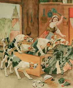 034-Jabali-caza-en-el-Cocina-034-Acuarela-1904-Rudiger-Con-Marco-57x48-cm