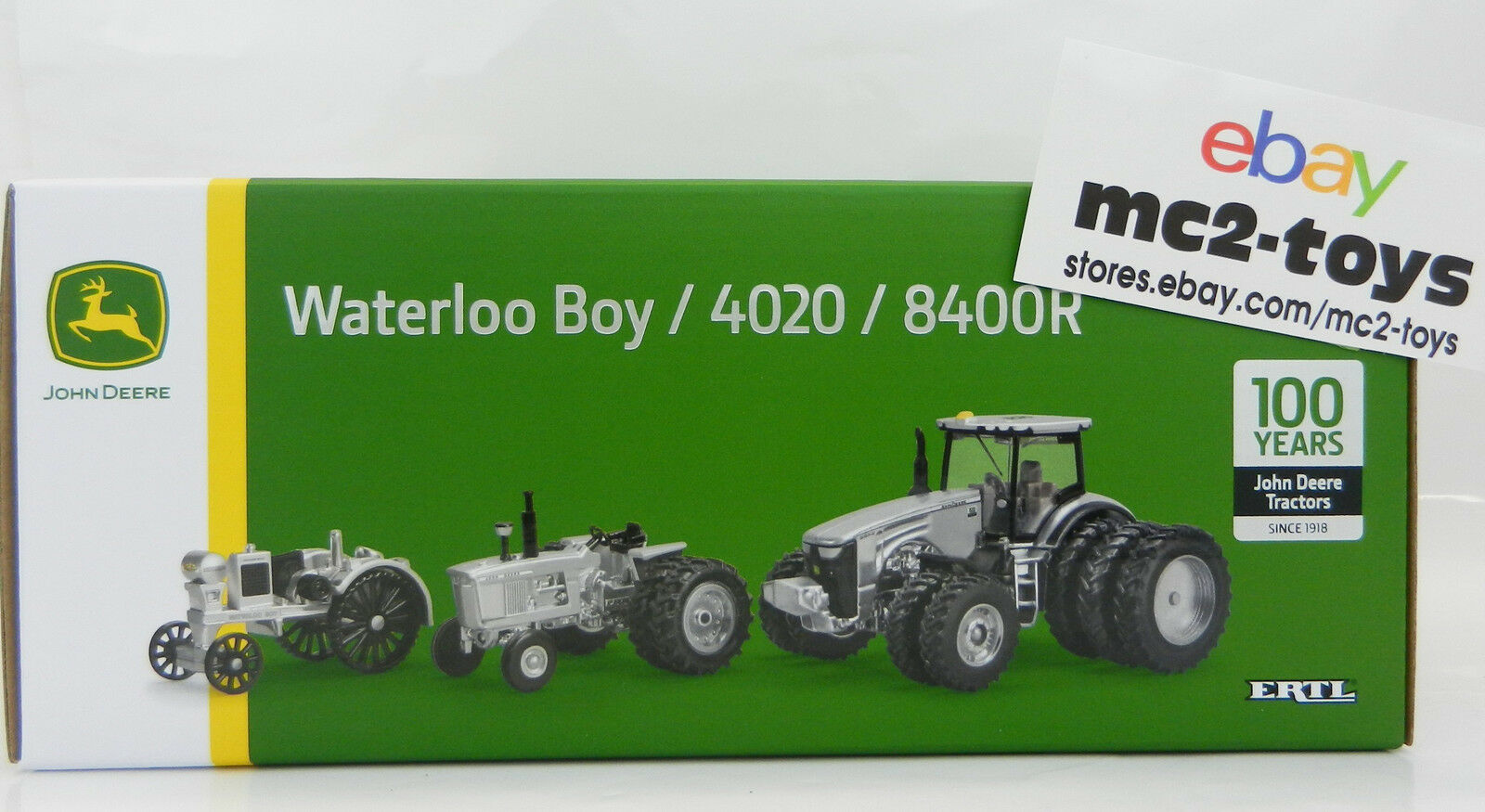 2018 ERTL John Deere 100 ans modèle 8400R 4020 Waterloo Boy Argent tracteur set