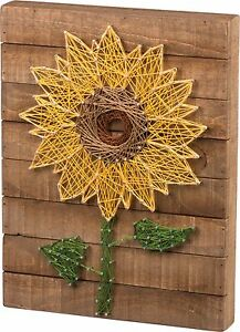 Image Is Loading NEW Slat Wood String Art Sign Sunflower Wall