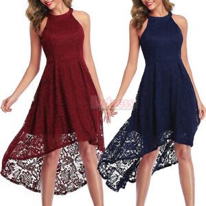 Women-039-s-Halter-Floral-Lace-Cocktail-Party-Hi-lo-Bridesmaid-Wedding-Swing-Dresses
