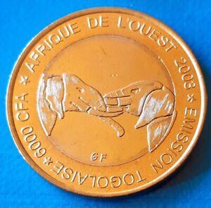 Togo-6000-CFA-francs-2003-4-Africa-Elephant-Bi-metallic-unusual-coinage