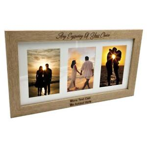 Personalised Wooden Triple Photo 6 X 4 Frame Custom Engraved Any