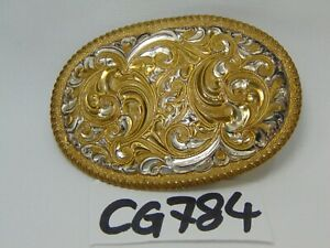VINTAGE-CRUMRINE-WESTERN-BELT-BUCKLE-BRONZE-SILVER-PLATE-USA-MADE-GOLD-SCROLL