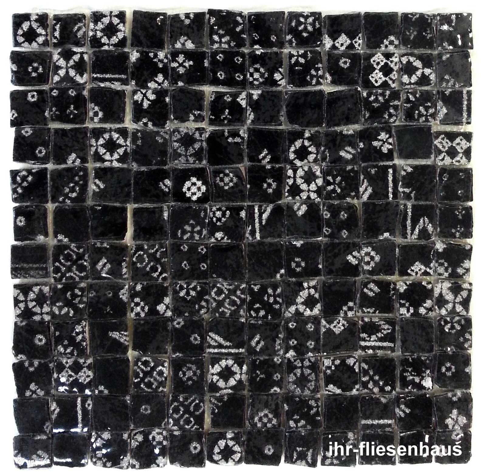 KER-AV Feinsteinzeug Mosaikfliese L154 Argento Nero Schwarz mit Glitzer 30x30cm