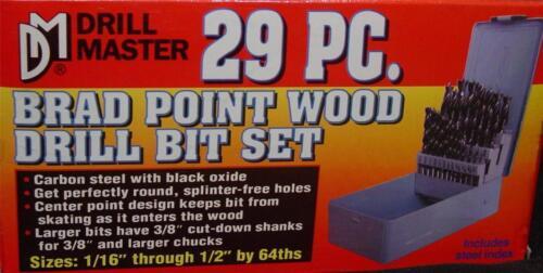 NEW 29 PC BRAD POINT PRECISION WOOD DRILL BIT SET NON-SKATE CARPENTRY TOOL