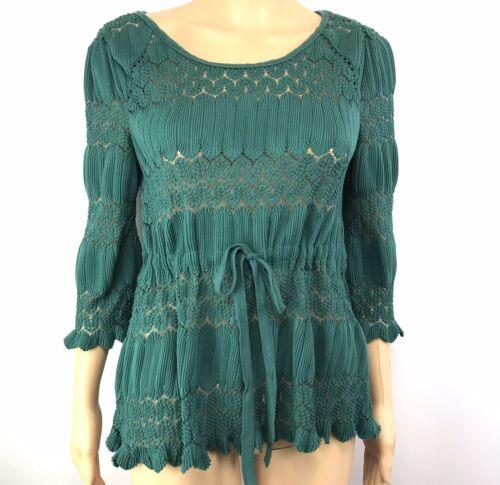 Free People Womens Knit Top Green Shirt S Key Hole