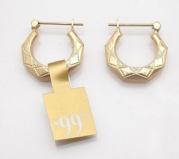 Textured Graduated Geometric Hoop Earrings Real 14K Yellow gold