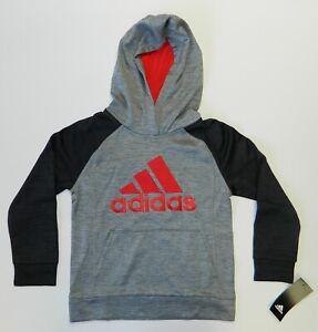 Adidas Boy's Fusion Raglan Hoodie Sweater Pullover Grey