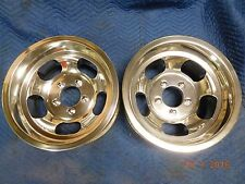 VINTAGE 15x8.5 SLOT MAG WHEELS 5on5 CHEVY TRUCK VAN MAGS GASSER FULL SIZE GM CAR