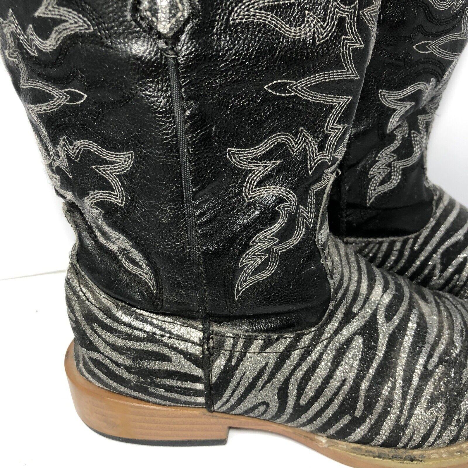 Roper Kids Black Zebra Print Cowboy Western Boots… - image 2