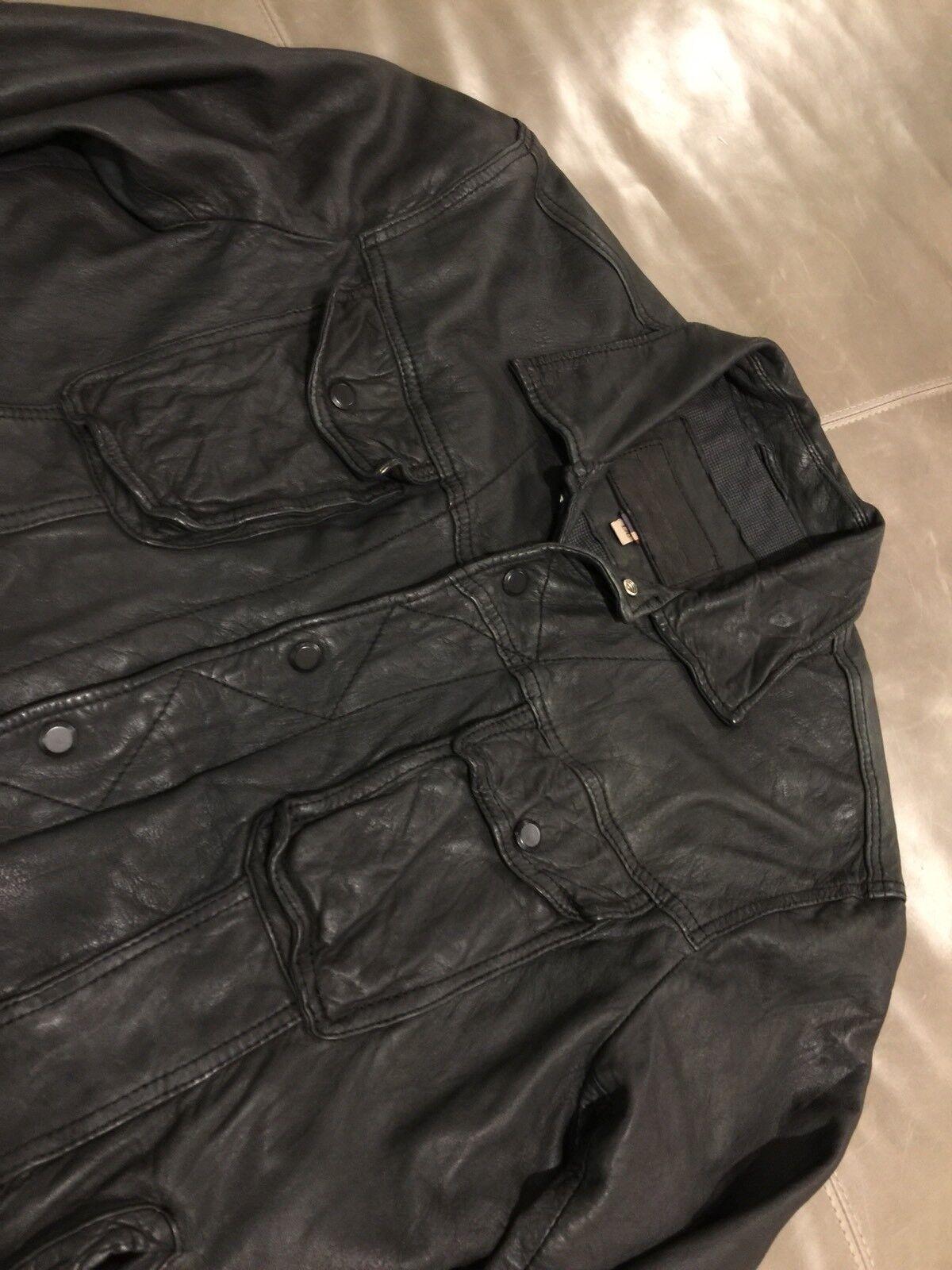 Kosiuko Herencia silverina Mens 100% Leather Jacket Black Large  895