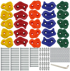 25 PCS Rock Climbing Holds Set with Mounting Screws and Hardware