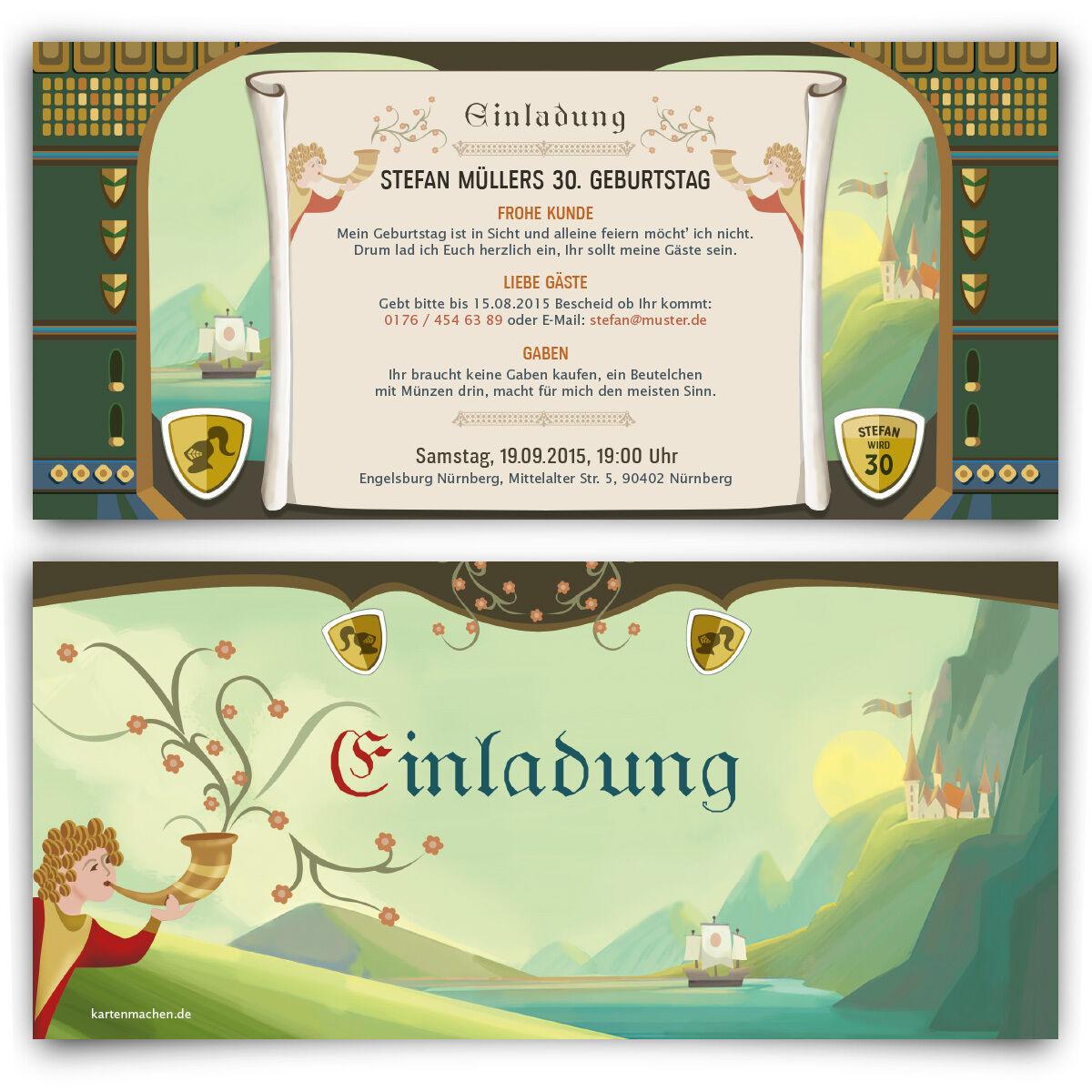 Einladungskarten zum Geburtstag Mittelalter Ritter Burg Schloss Einladung Karte