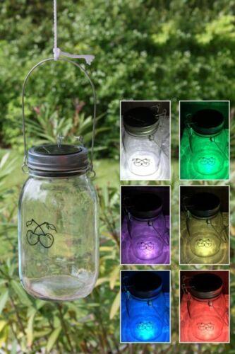 LED Solarlampe Kirschel Licht im Glas Gartenlampe Solarleuchte Solar Außenlampe