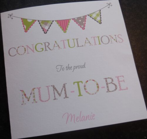 B9 Mum to Be Card Boy or Girl or Unisex Personalised Baby Shower Handmade