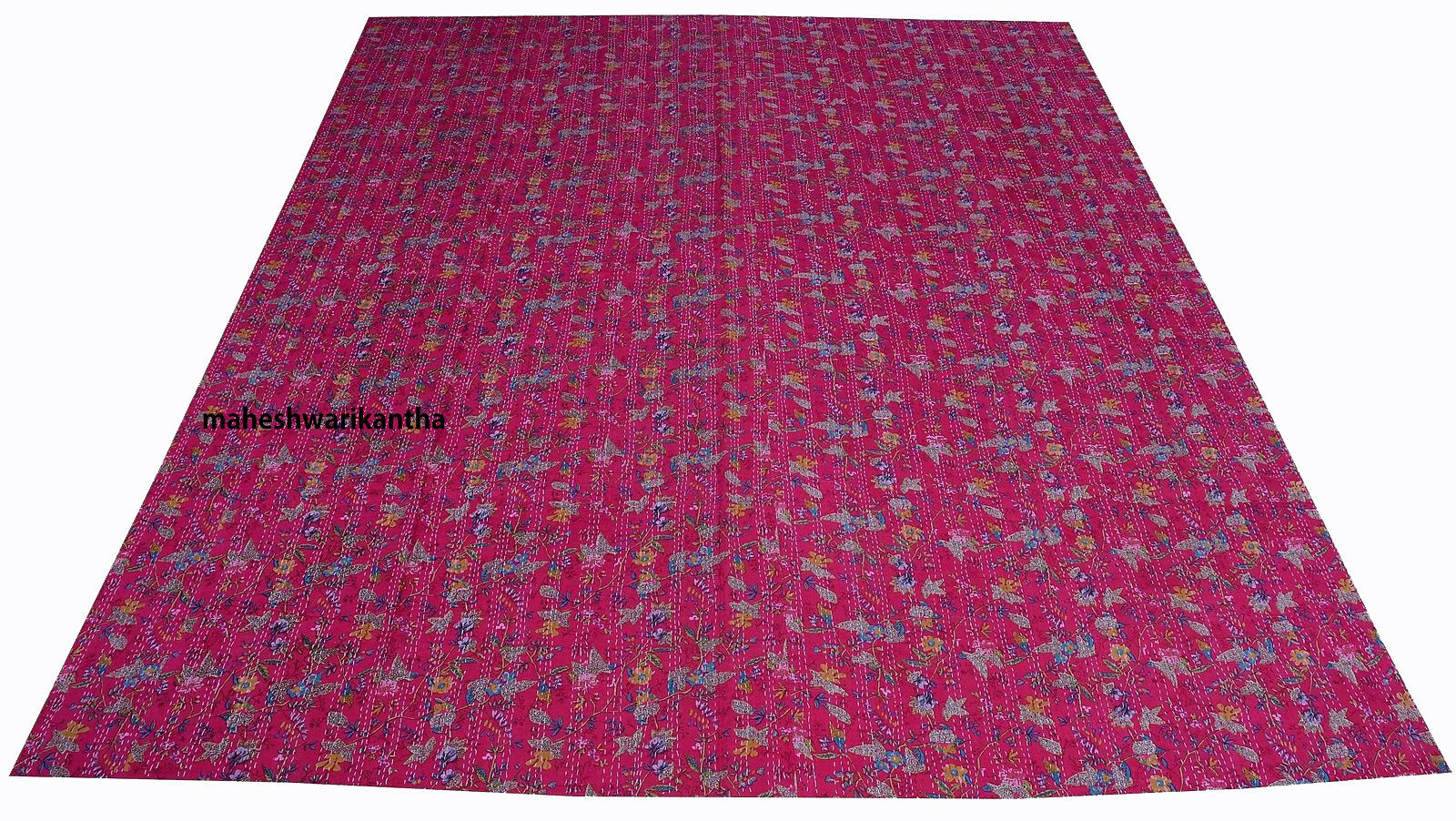 Reversible Bed Spread Bedding Coverlet Reversible Kantha Cotton Indian Handmade