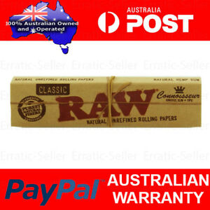RAW CLASSIC CONNOISSEUR KINGSIZE SLIM PAPERS + TIPS - SMOKING TOBACCO ROLLING